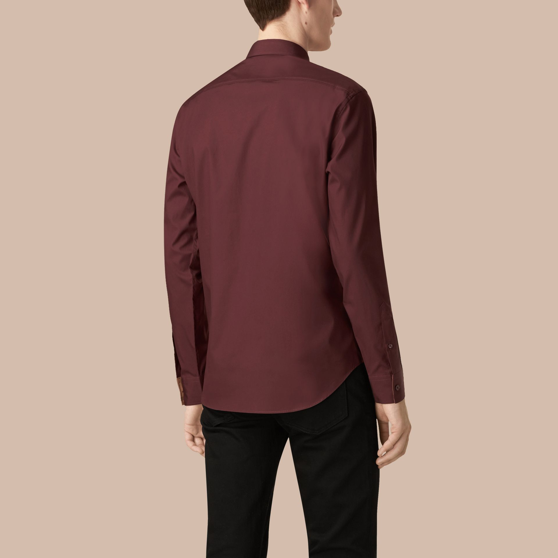 Oxblood Check Detail Stretch Cotton Poplin Shirt Oxblood - gallery image 3