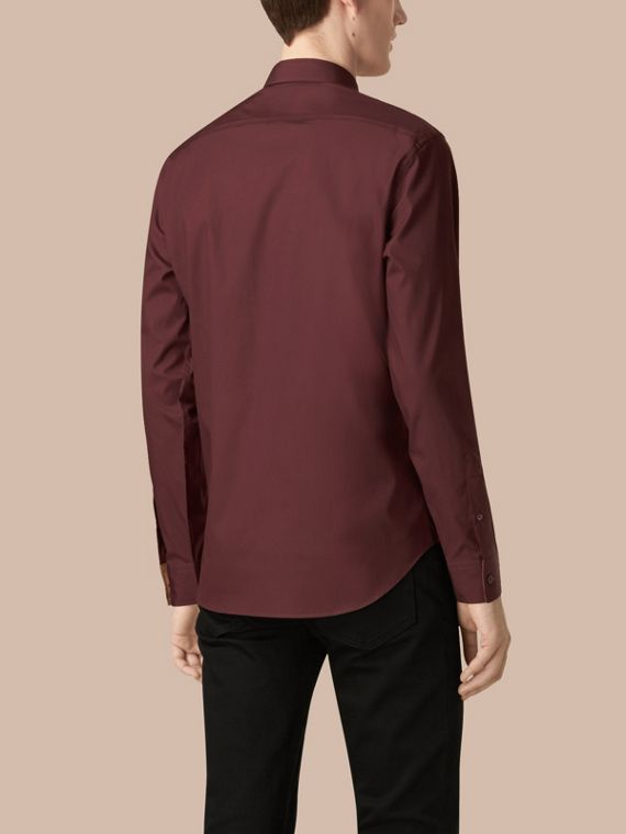 Oxblood Check Detail Stretch Cotton Poplin Shirt Oxblood - cell image 2