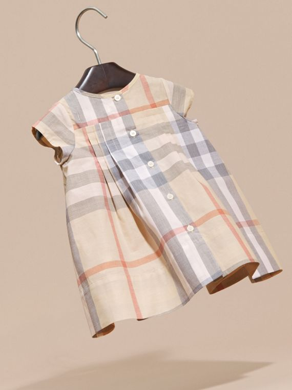 Check Cotton Pleat Dress in Pale Stone | Burberry - cell image 3