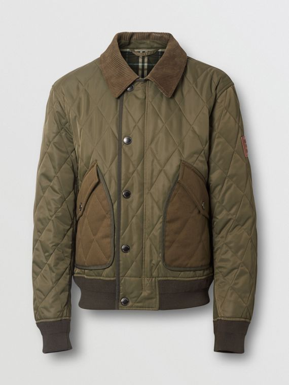 Diamond Quilted Thermoregulated Jacket in Dark Olive