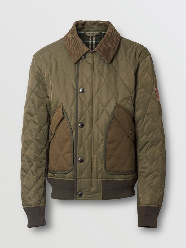 Diamond Quilted Thermoregulated Jacket in Dark Olive - Men | Burberry - cell image 3