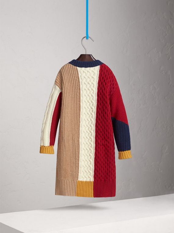 Colour Block Cable Knit Wool Cashmere Dress in Natural White - Girl | Burberry - cell image 3