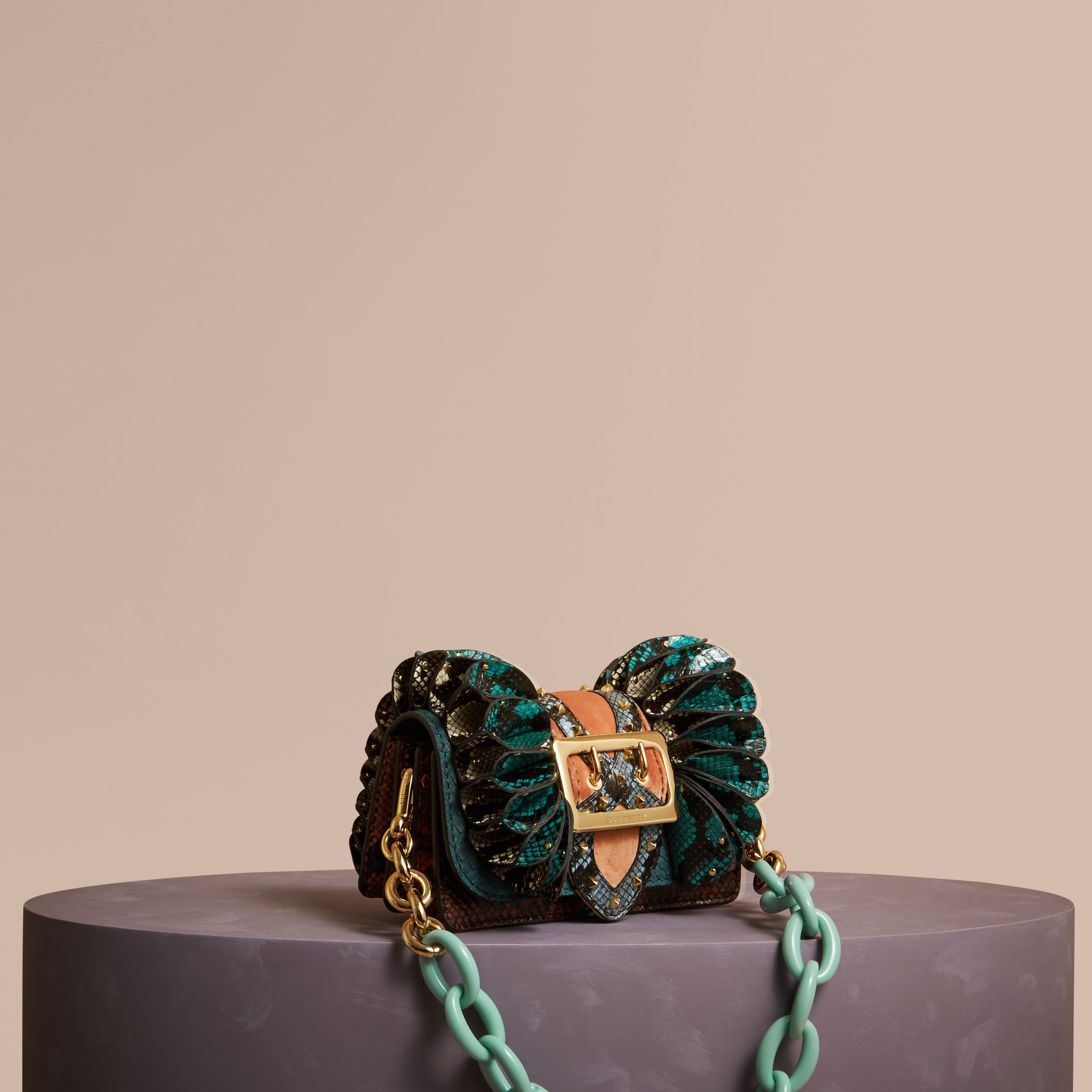 Teal The Ruffle Buckle Bag in Snakeskin and Velvet - gallery image 1