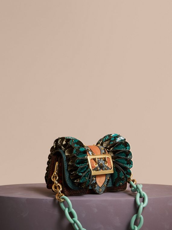 The Ruffle Buckle Bag in Snakeskin and Velvet