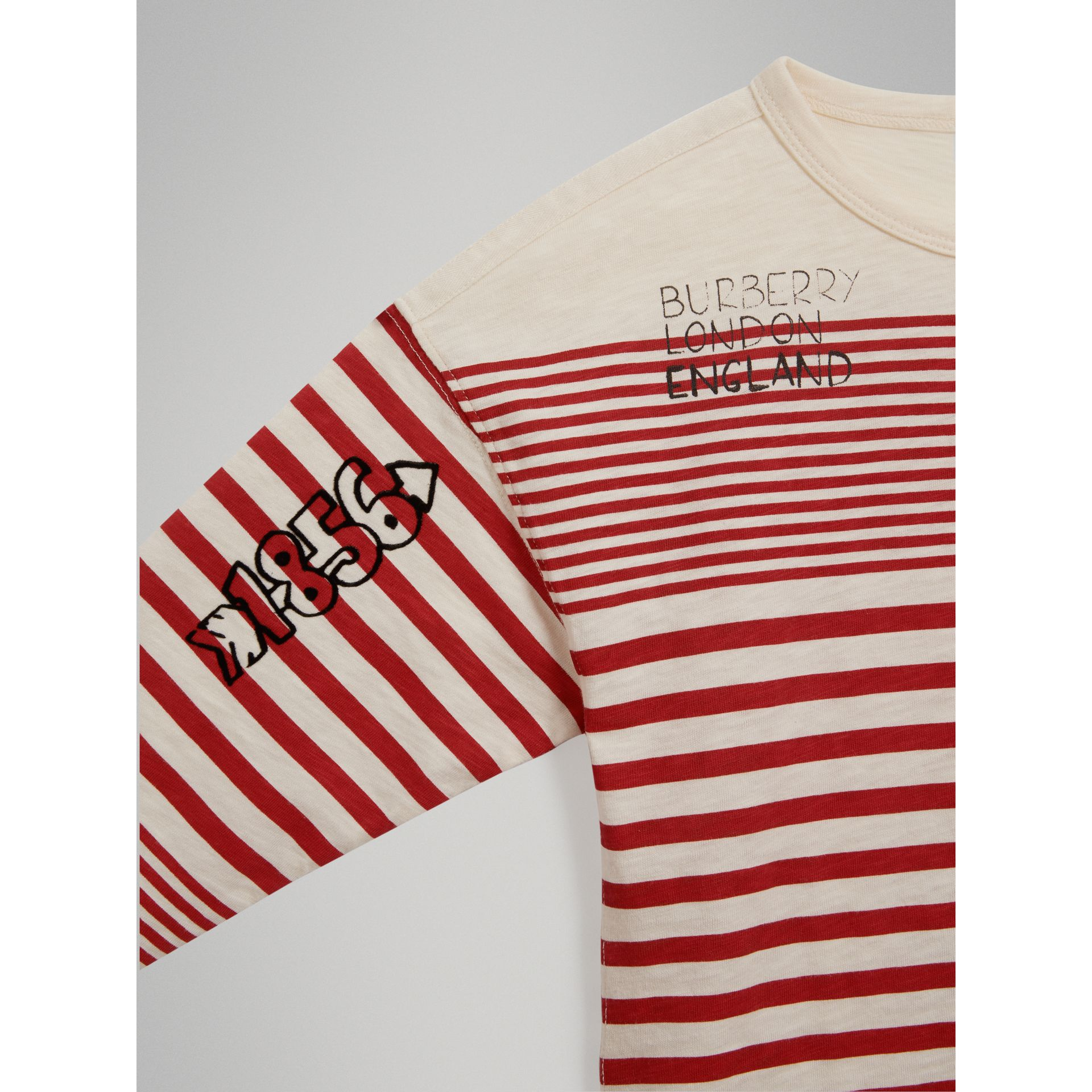 SW1 Print Striped Cotton Top in Bright Red/natural White - Boy | Burberry United Kingdom - gallery image 4