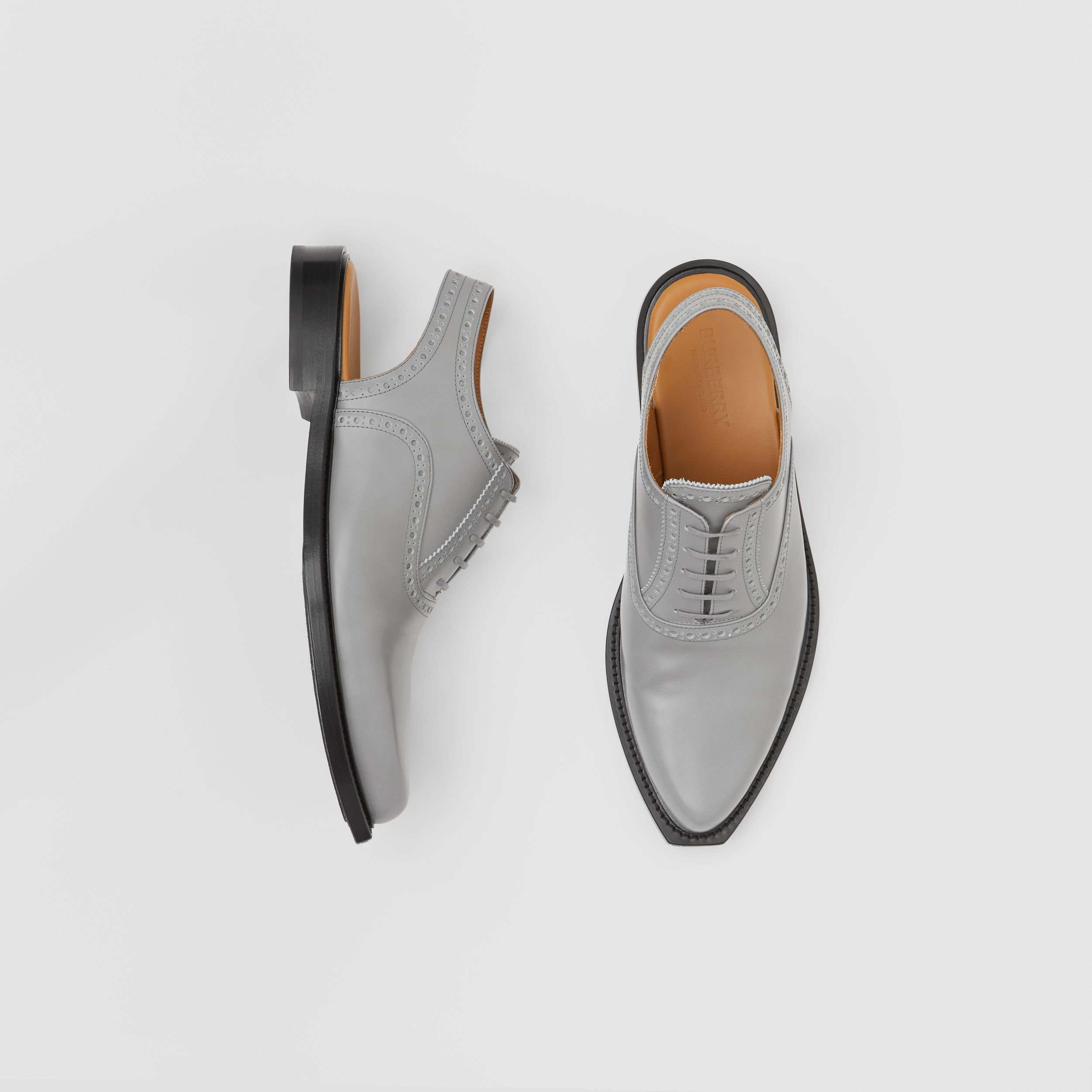 Leather Slingback Oxford Brogues in Cloud Grey - Men | Burberry - 1