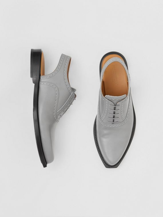 Leather Slingback Oxford Brogues in Cloud Grey
