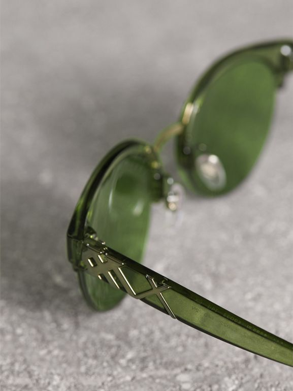 Check Detail Round Half-frame Sunglasses in Smokey Green - Women | Burberry United Kingdom - cell image 1