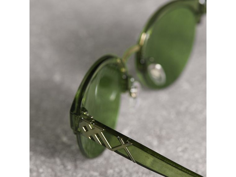 Check Detail Round Half-frame Sunglasses in Smokey Green - Women | Burberry - cell image 1