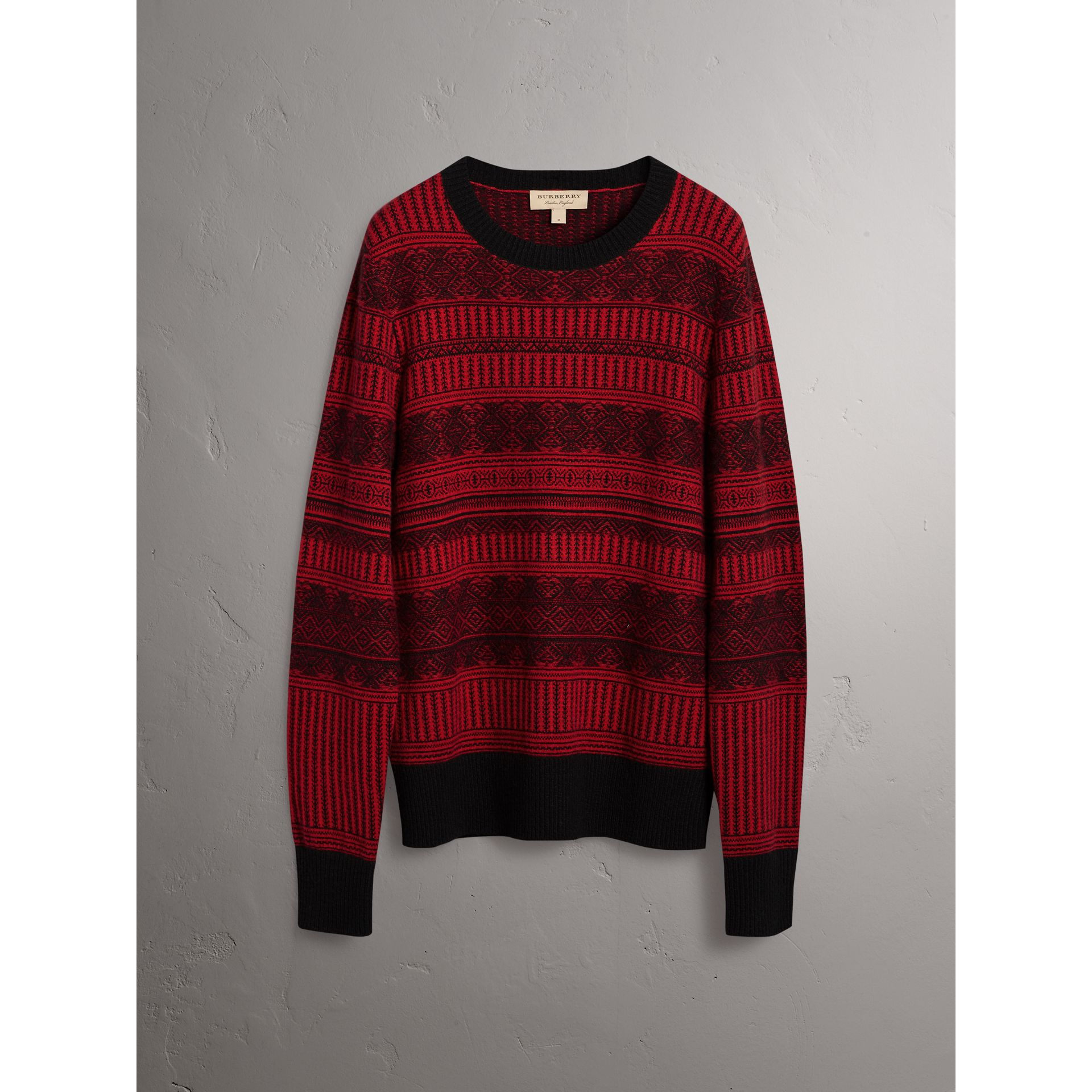 Fair Isle Wool Cashmere Sweater in Military Red - Men | Burberry Australia - gallery image 3