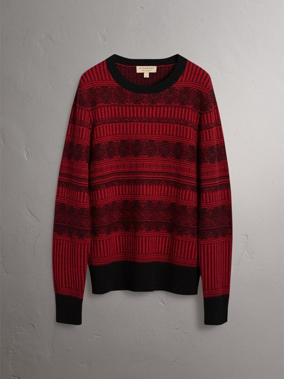 Fair Isle Wool Cashmere Sweater in Military Red - Men | Burberry Australia - cell image 3