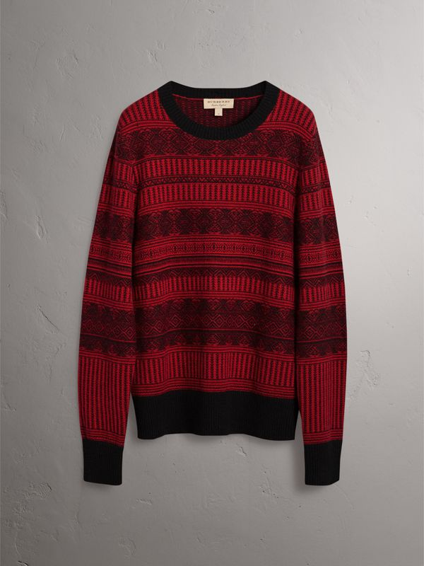 Fair Isle Wool Cashmere Sweater in Military Red - Men | Burberry - cell image 3