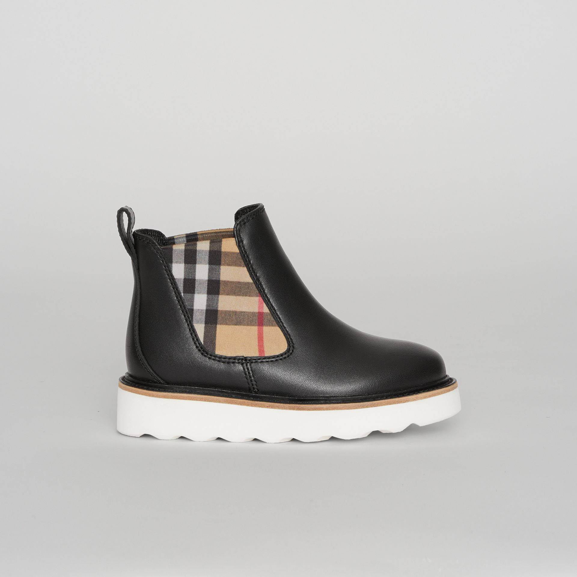 Vintage Check Detail Leather Chelsea Boots in Black | Burberry - gallery image 3