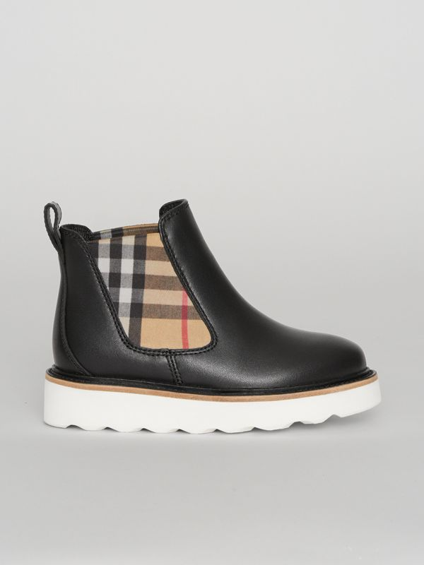 Vintage Check Detail Leather Chelsea Boots in Black | Burberry - cell image 3
