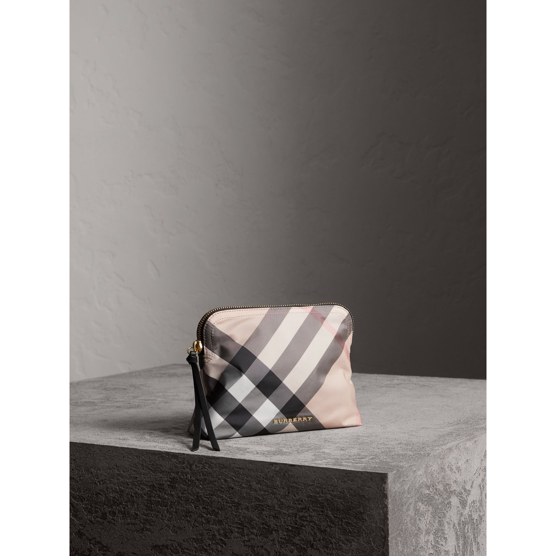 Large Zip-top Check Pouch in Ash Rose - Women | Burberry - gallery image 7