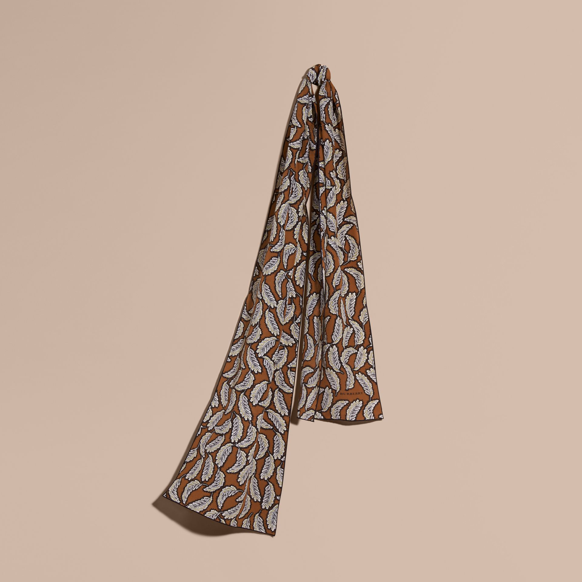 Bright toffee Leaf Print Silk Scarf Bright Toffee - gallery image 1
