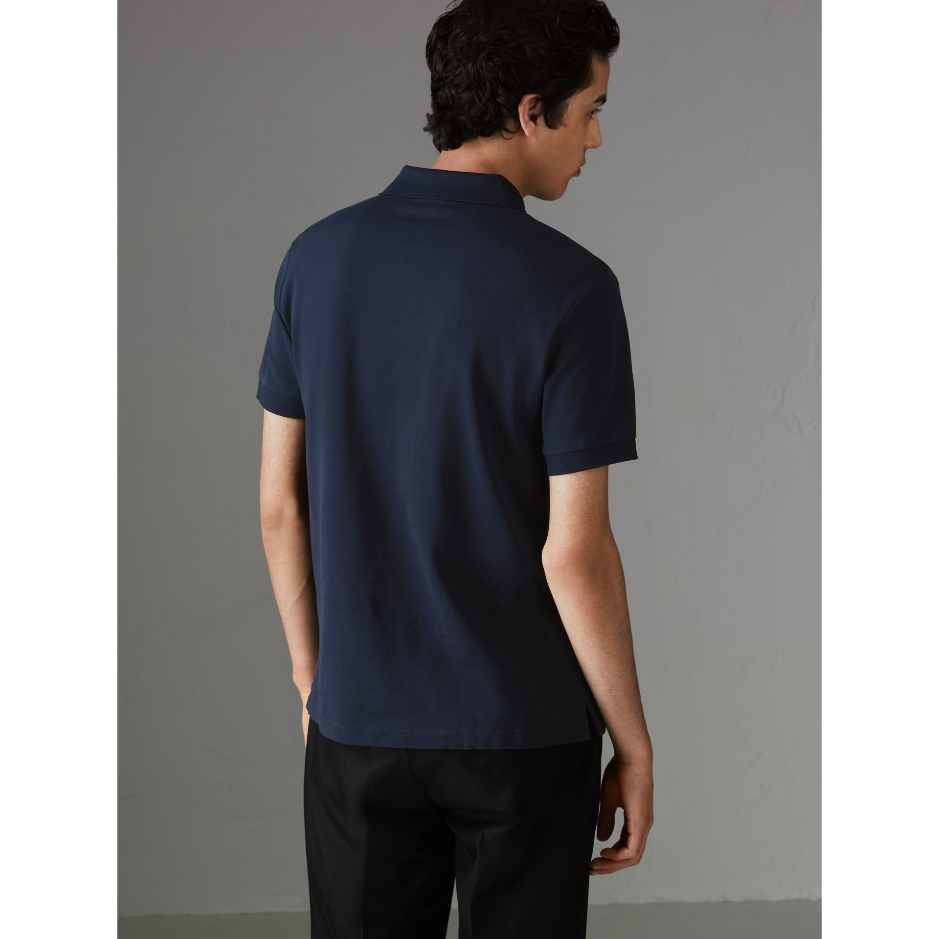 Painted Button Cotton Piqué Polo Shirt in Navy - Men | Burberry Australia - gallery image 2