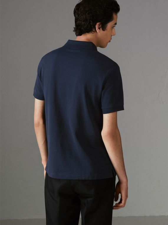Painted Button Cotton Piqué Polo Shirt in Navy - Men | Burberry - cell image 2
