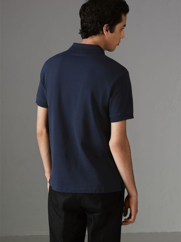 Painted Button Cotton Piqué Polo Shirt in Navy - Men | Burberry Australia - cell image 2