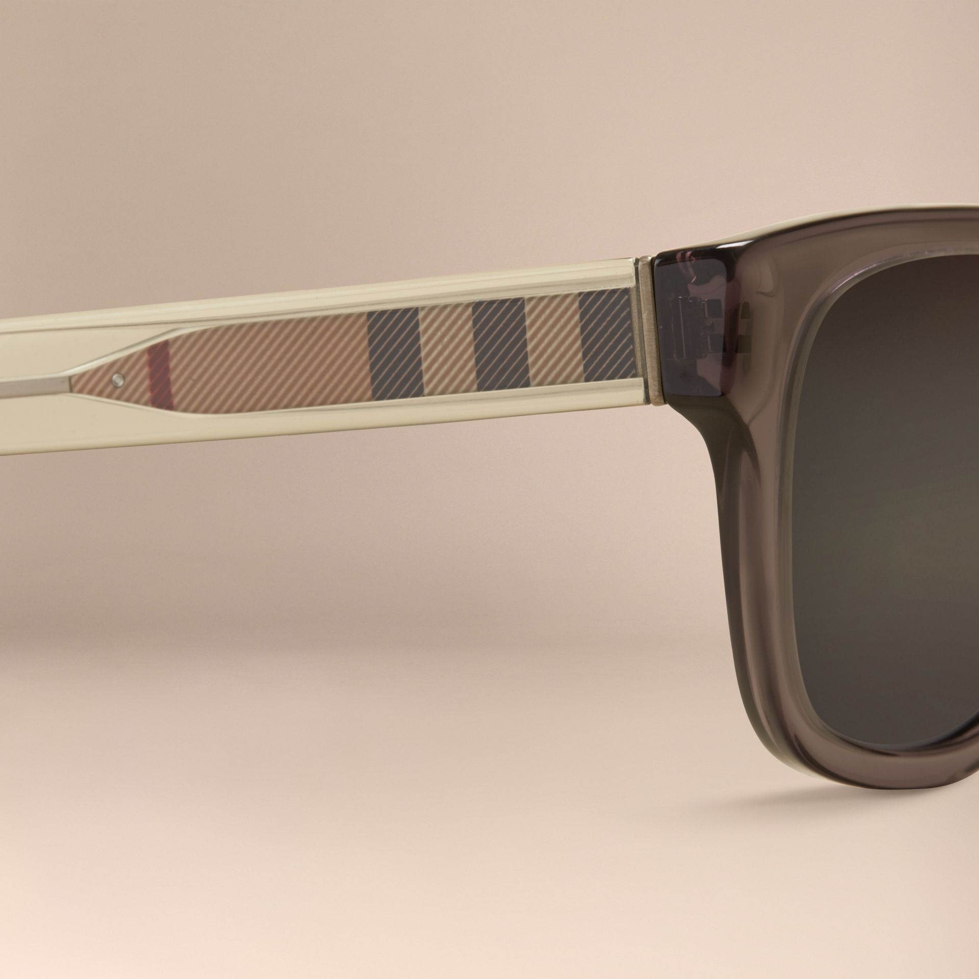 Dark grey Check Detail Square Frame Sunglasses Dark Grey - gallery image 2