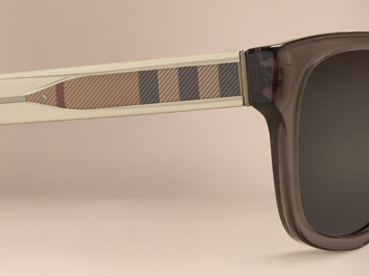 Dark grey Check Detail Square Frame Sunglasses Dark Grey - cell image 1