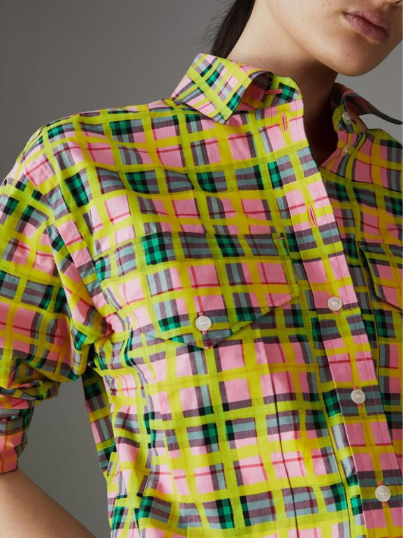 Painted Check Cotton Shirt in Bright Coral Pink - Women | Burberry - cell image 1