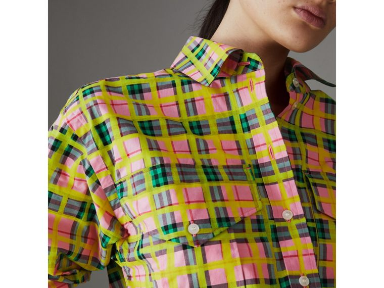 Painted Check Cotton Shirt in Bright Coral Pink - Women | Burberry Singapore - cell image 1