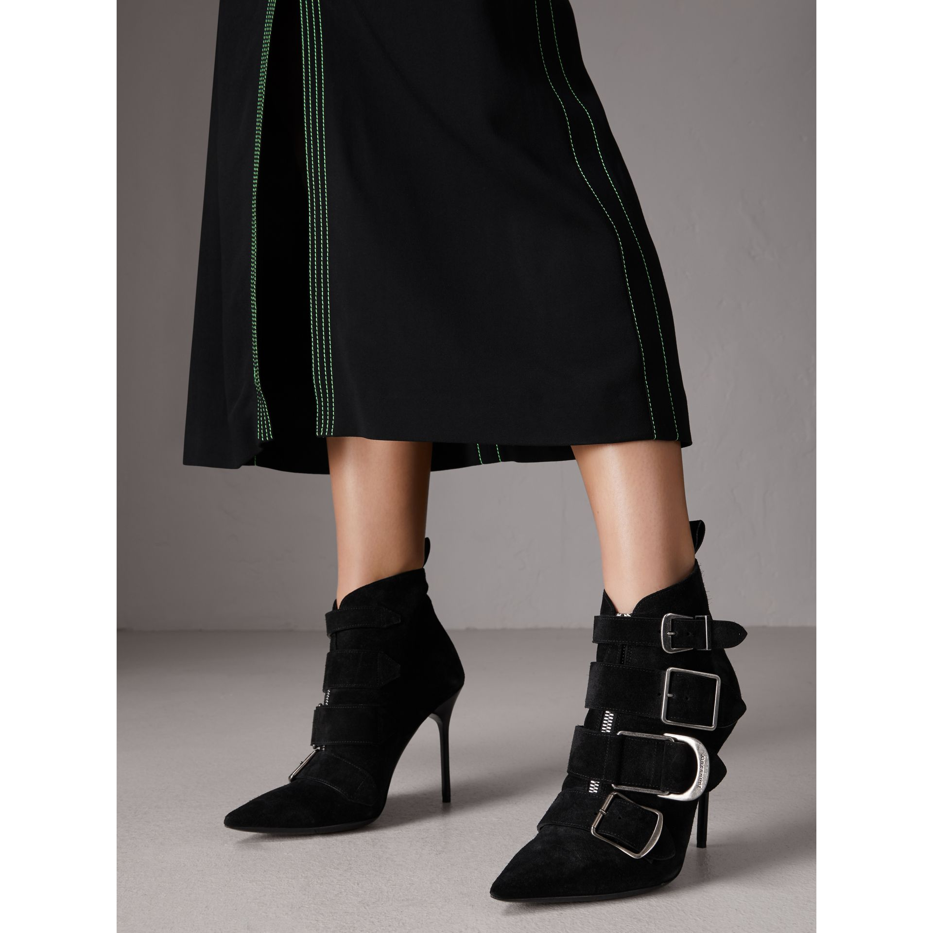 Buckle Detail Suede Ankle Boots in Black - Women | Burberry United Kingdom - gallery image 2
