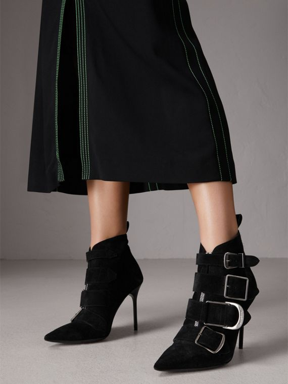Buckle Detail Suede Ankle Boots in Black - Women | Burberry Canada - cell image 2