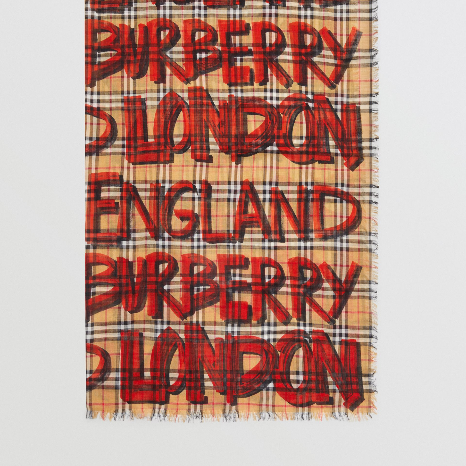 Graffiti Print Check Wool Silk Large Square Scarf in Bright Red | Burberry Singapore - gallery image 4