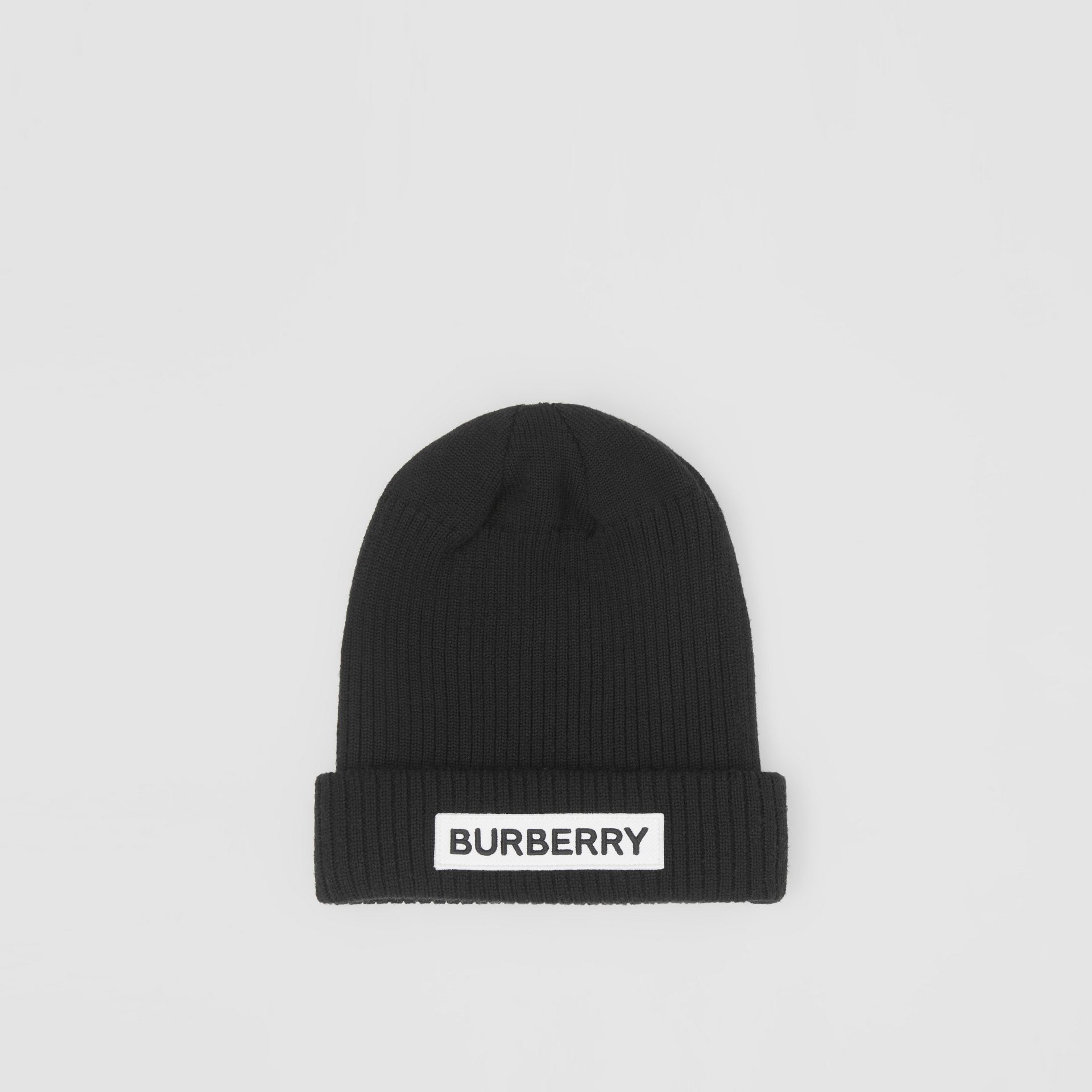 Logo Detail Rib Knit Merino Wool Beanie in Black - Children | Burberry - gallery image 2