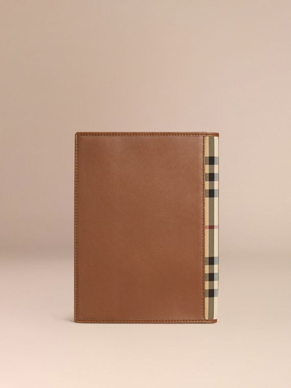 Tan Check Detail Grainy Leather A5 Notebook - cell image 3