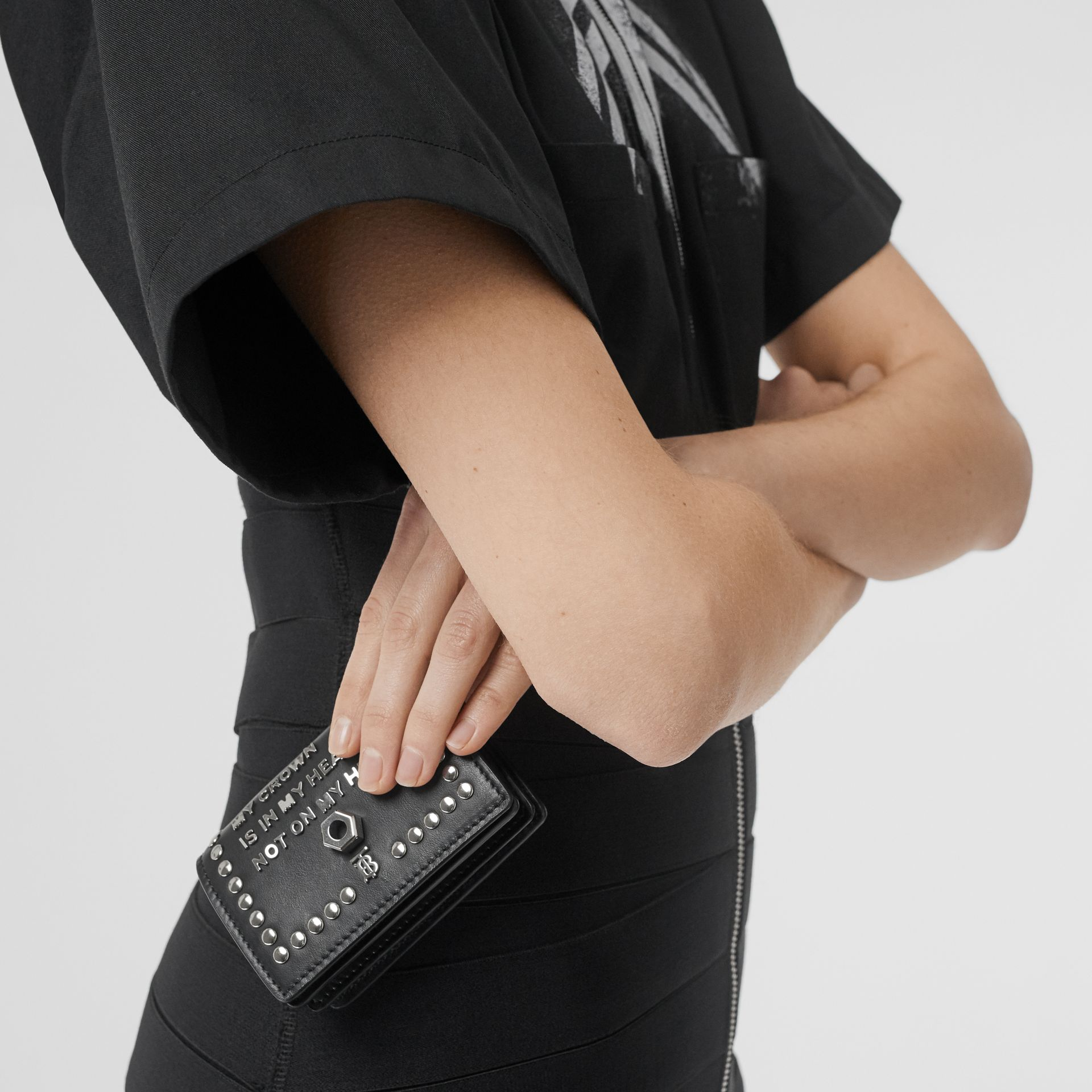 Embellished Leather Card Case with Detachable Strap in Black - Women | Burberry - gallery image 5