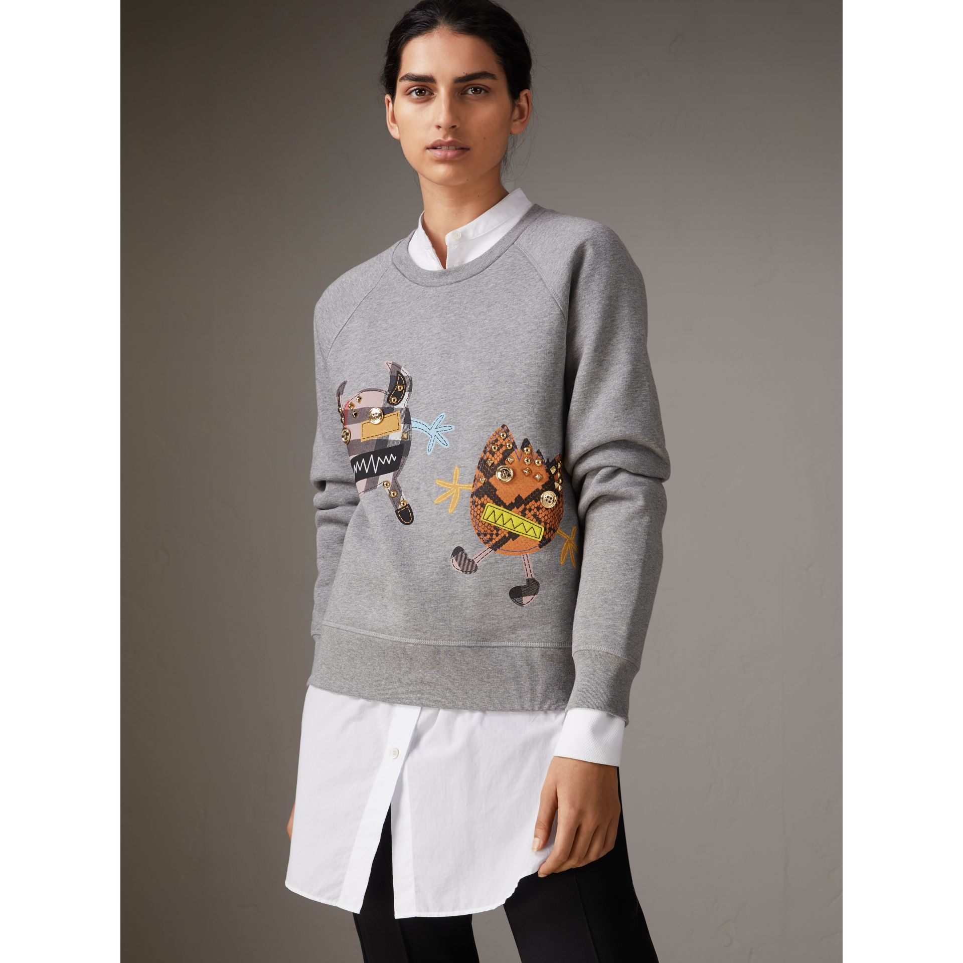 Creature Motif Jersey Sweatshirt in Pale Grey Melange - Women | Burberry Singapore - gallery image 1