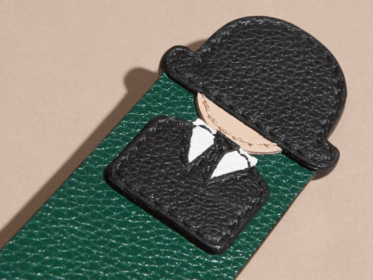 The City Gent Grainy Leather Bookmark in Dark Forest Green | Burberry - cell image 1