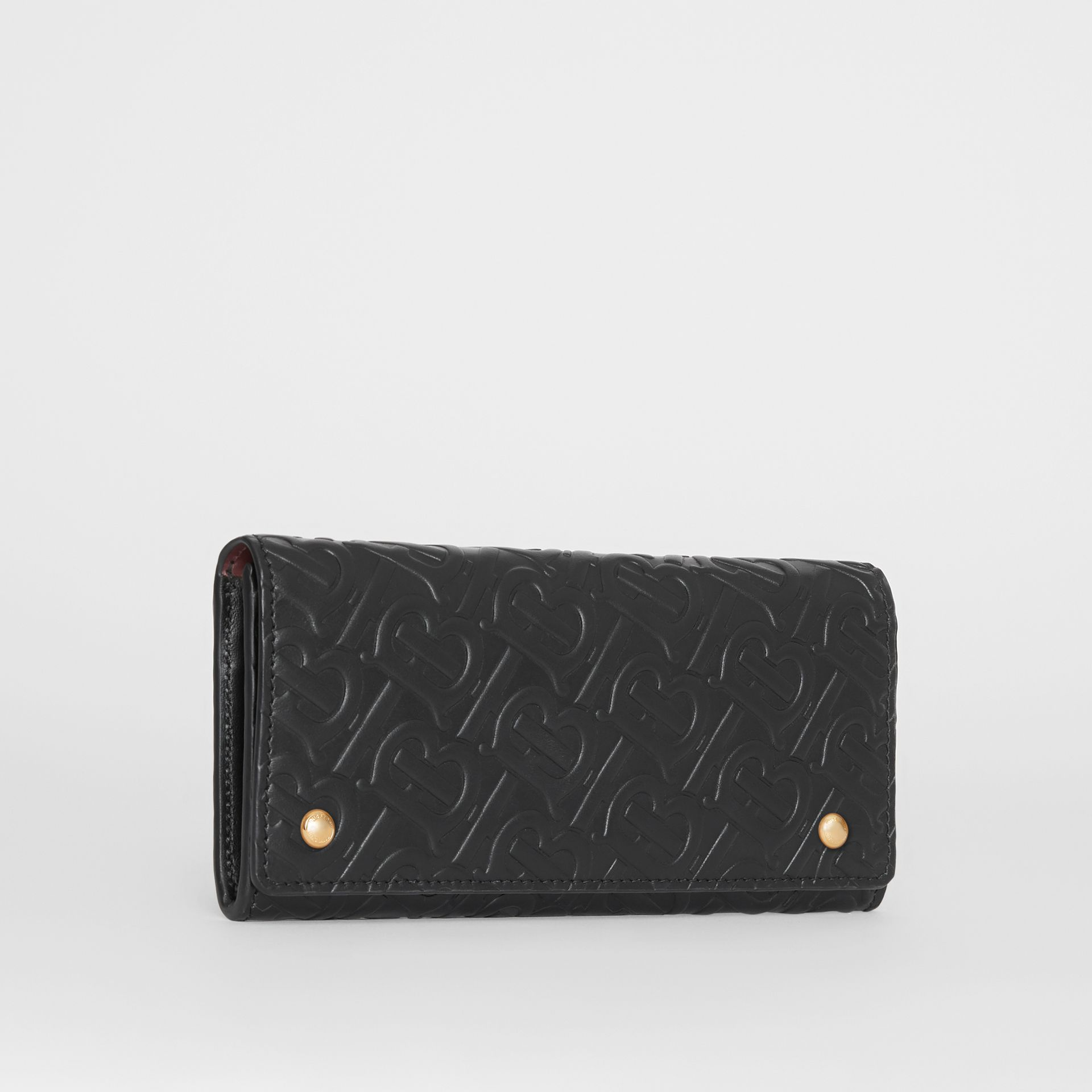 Monogram Leather Continental Wallet in Black - Women | Burberry - gallery image 3