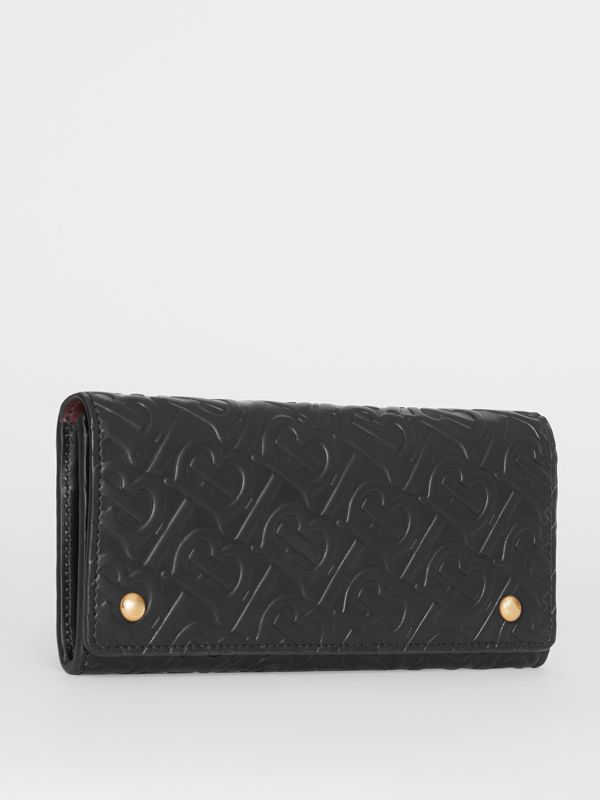 Monogram Leather Continental Wallet in Black - Women | Burberry - cell image 3