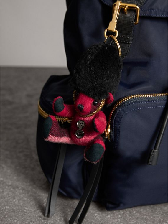 The Guardsman Thomas Bear Charm in Check Cashmere in Parade Red | Burberry - cell image 2