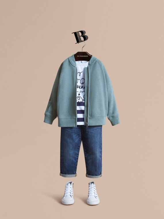 London Icons Print Cotton Zip-front Sweatshirt in Dusty Blue
