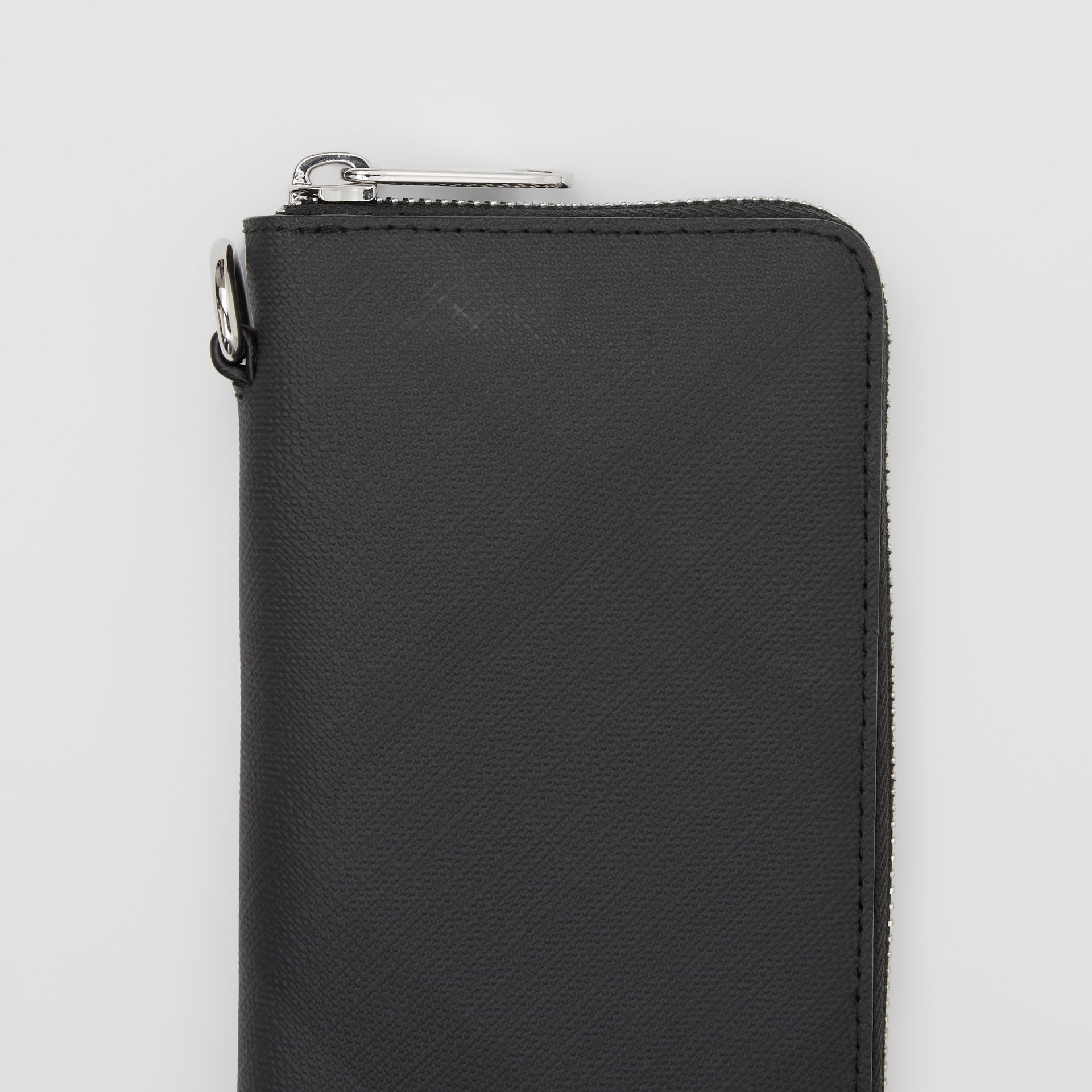 London Check and Leather Phone Wallet in Dark Charcoal - Men | Burberry Hong Kong S.A.R - gallery image 1