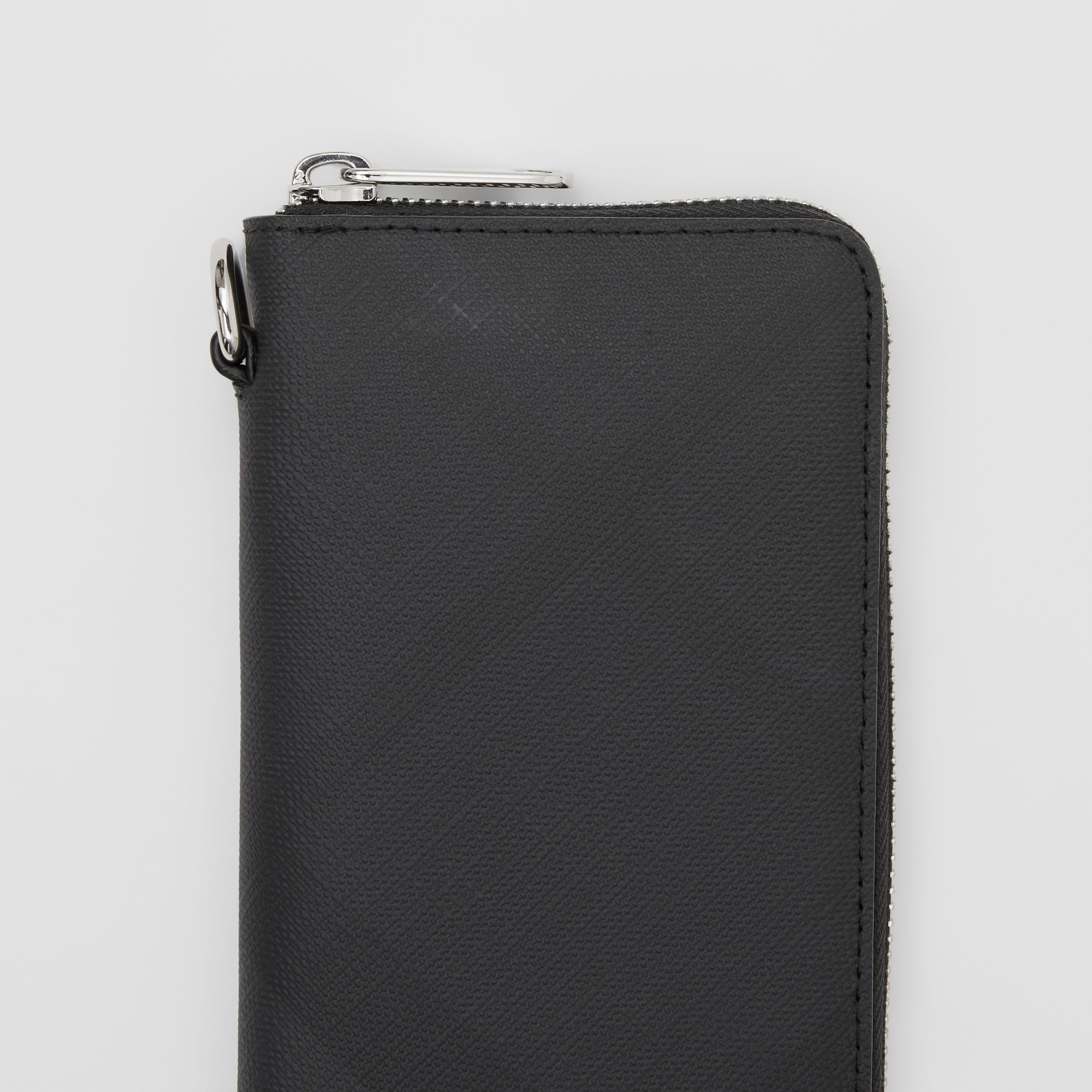 London Check and Leather Phone Wallet in Dark Charcoal - Men | Burberry - 2