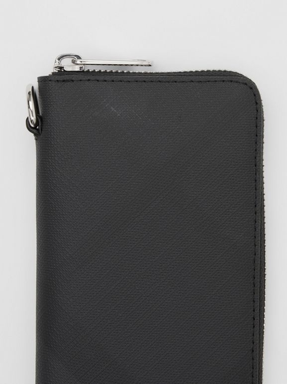 London Check and Leather Phone Wallet in Dark Charcoal - Men | Burberry Hong Kong S.A.R - cell image 1