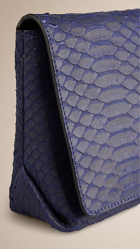 Bright regency blue Medium Nubuck Python Clutch Bag - Image 7