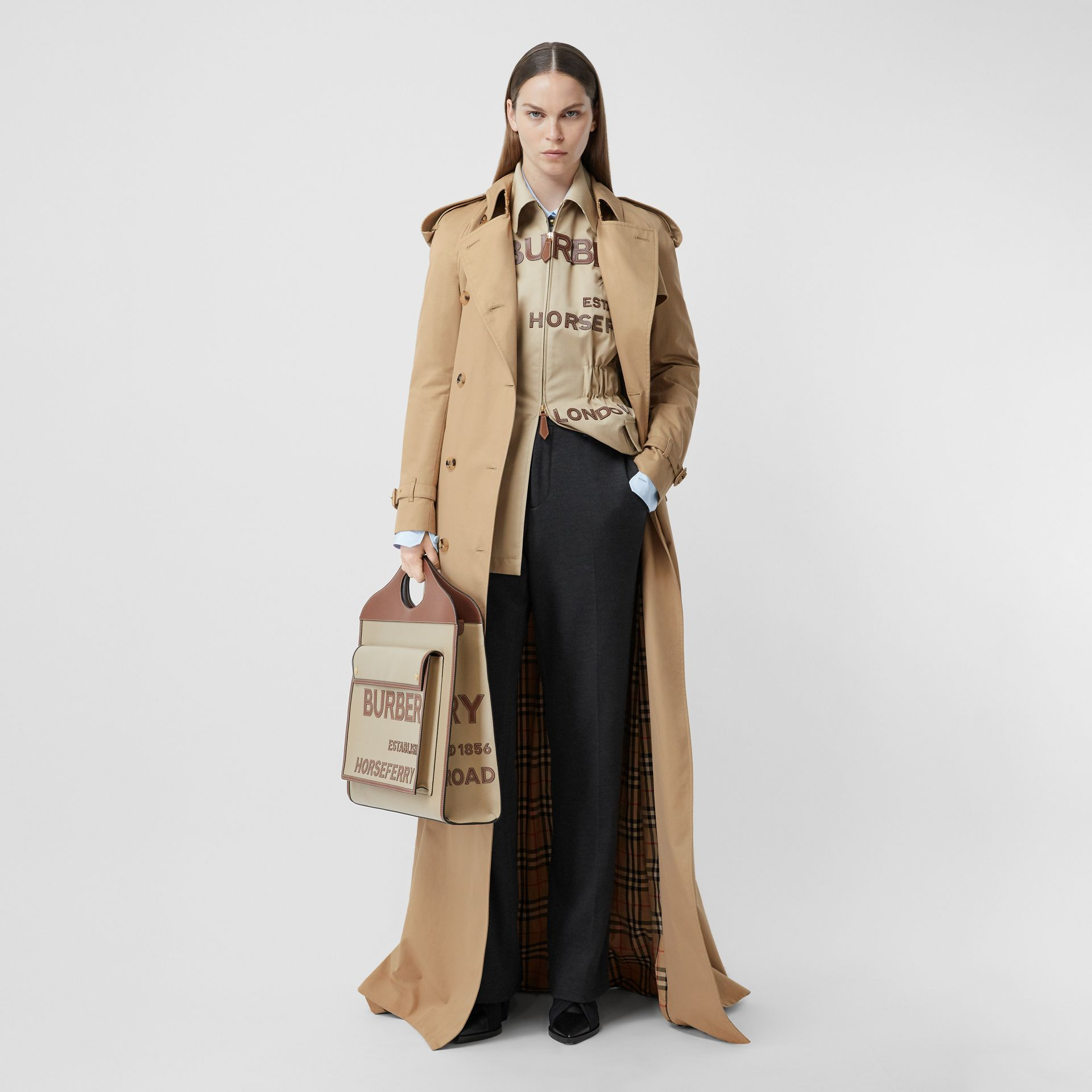 Extra Long Cotton Gabardine Trench Coat in Soft Fawn - Women | Burberry United Kingdom - gallery image 0