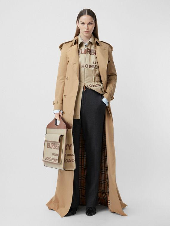 Extra Long Cotton Gabardine Trench Coat in Soft Fawn