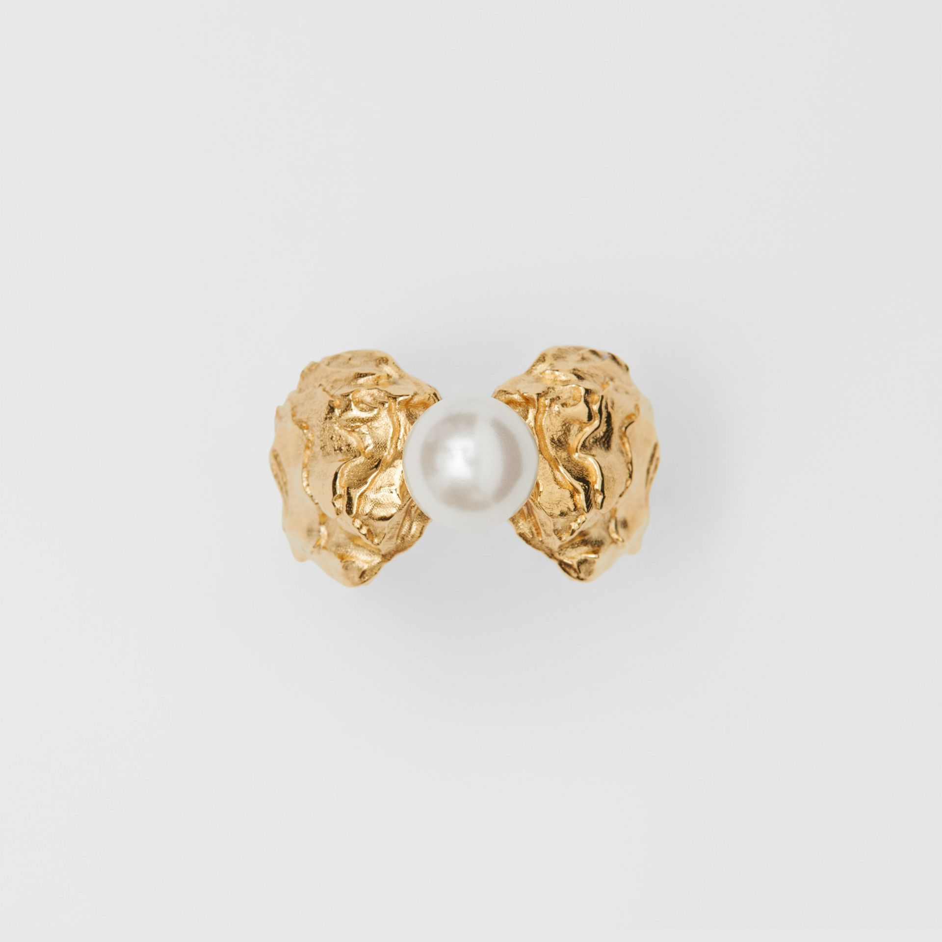 Gold-plated Resin Pearl Ring in Light Gold/pearl | Burberry Australia - gallery image 3