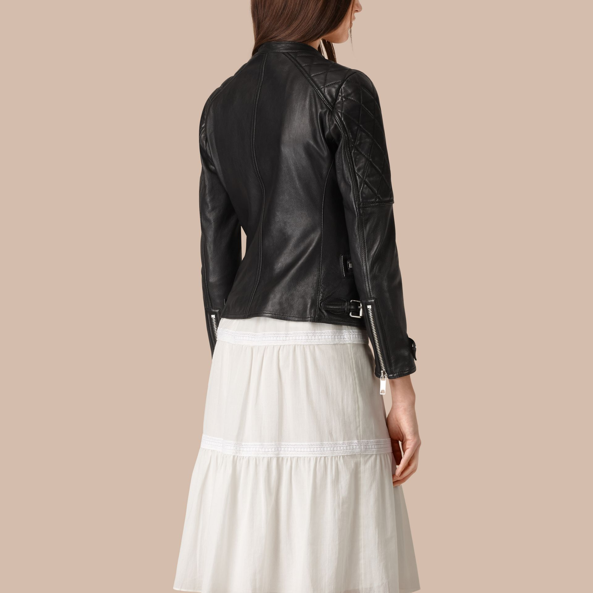Black Panel Detail Lambskin Biker Jacket - gallery image 4