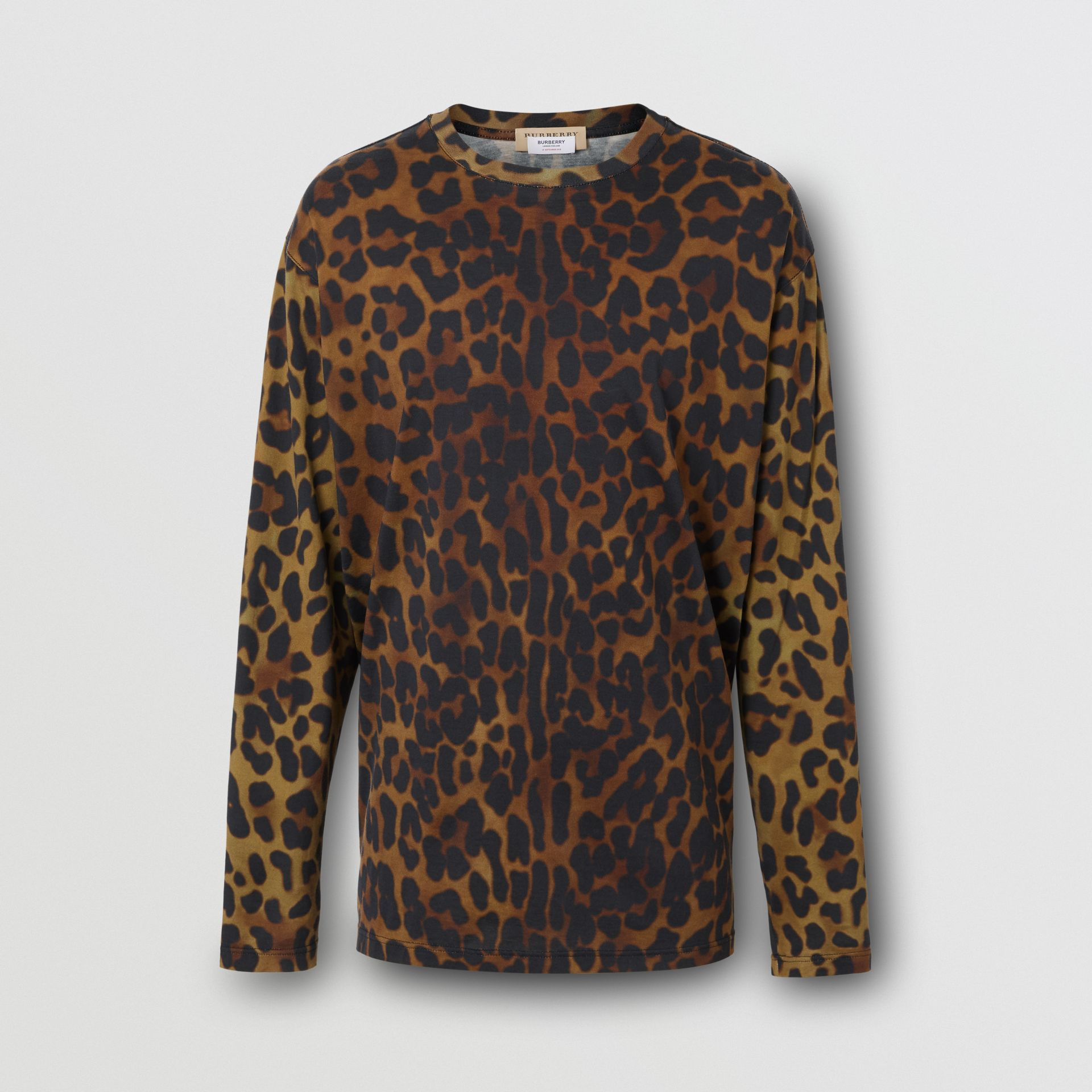 Leopard Print Cotton Oversized Top in Khaki Green | Burberry - gallery image 3