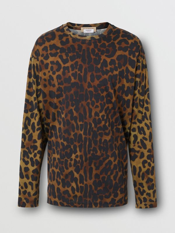 Leopard Print Cotton Oversized Top in Khaki Green | Burberry - cell image 3