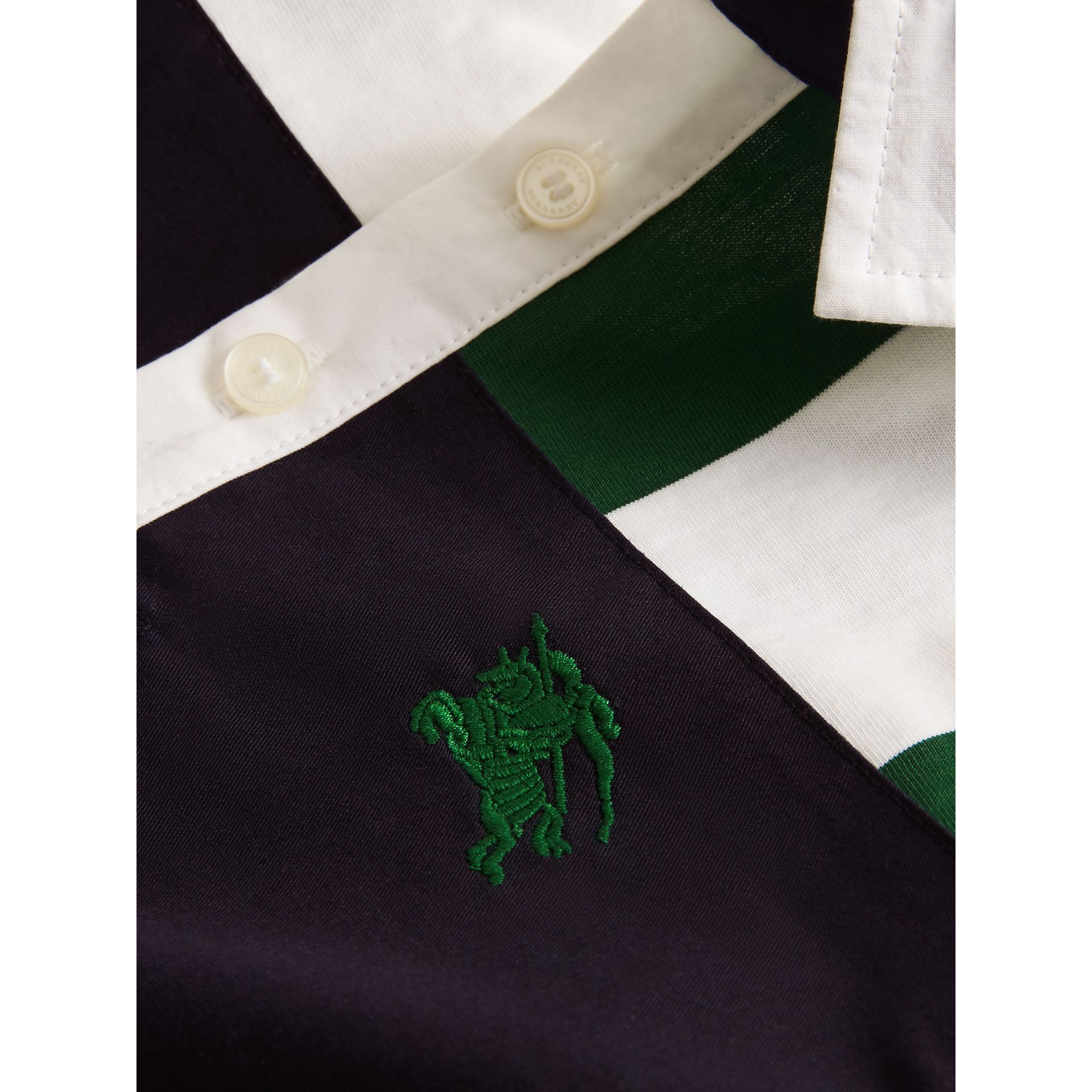 Long-sleeve Striped Cotton Polo Shirt in Racing Green/white | Burberry - gallery image 1